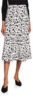 St. John Snow-Leopard Jacquard Knit Midi Skirt