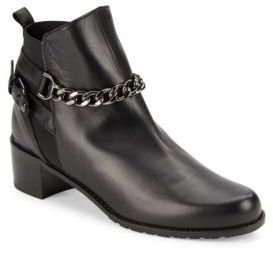 On-the-Street Leather Chainlink Ankle Boots $535 thestylecure.com