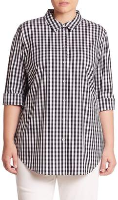 Lafayette 148 New York Women's Plus Paget Gingham Blouse - Ink, Size 1x (14-16)