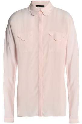 Maje Scalloped Crepe De Chine Shirt