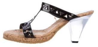 Eric Javits Patent Leather Cork Sandals