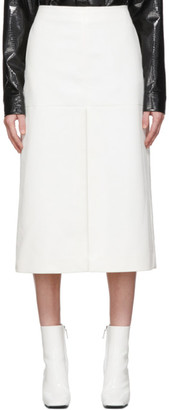 we11done White Faux-Leather Snake Front Slit Skirt