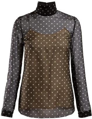 Prada Polka Dot Silk Chiffon Blouse - Womens - Black Multi