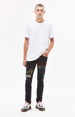 Pacsun Skinny Ripped Embroidered Black Jeans