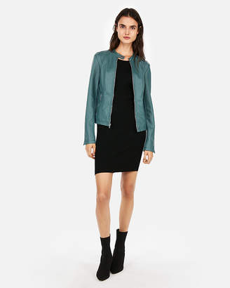 Express Minus The) Leather Double Peplum Jacket