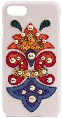Dolce & Gabbana Embellished Ayers-appliqued Textured-leather Iphone 7 Case
