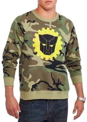 Transformers autobots logo camouflage sweater Big Men's long sleeve raglan graphic sweatshirt, 2xl