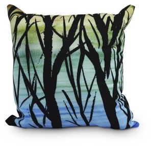 Simply Daisy 16 Inch Sunset Branches Multi Floral Print Outdoor Decorative Throw Pillow