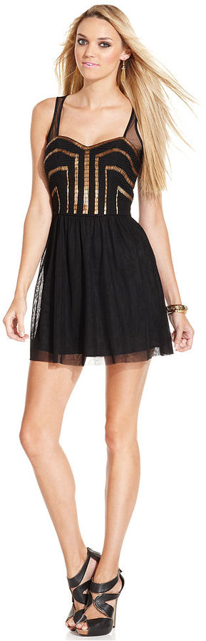 GUESS Dress, Sleeveless Sweetheart Sequined