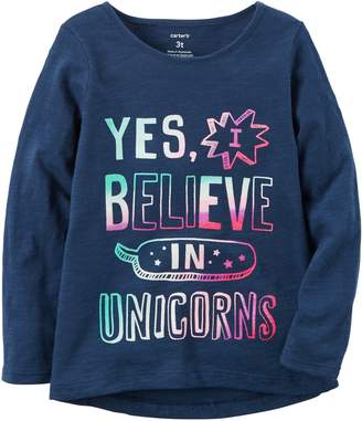 Carter's Girls'-8 I Believe In Unicorns Long Sleeve Tee