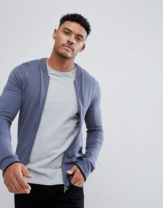 Asos Design Knitted Bomber Jacket In Denim Blue With Rib Tipping