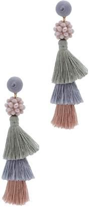 Saachi Tara Beaded Multicolored Tiered Tassel Drop Earrings