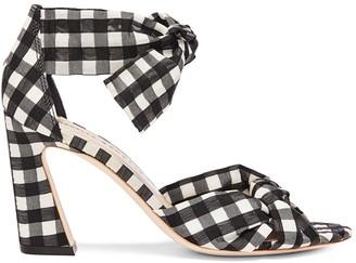 Loeffler Randall Nan Gingham Ankle-Tie Sandals