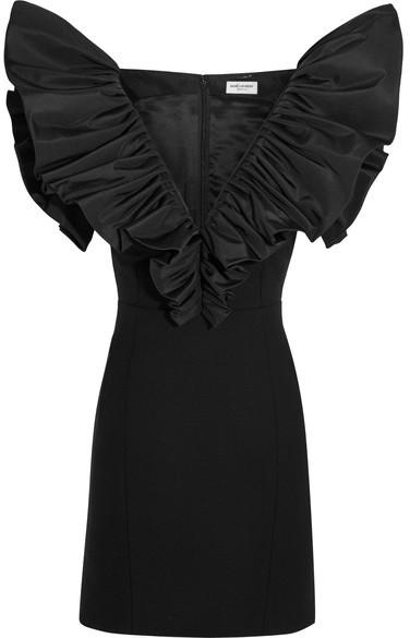 Saint LaurentSaint Laurent - Ruffled Silk-faille And Wool-crepe Mini Dress - Black