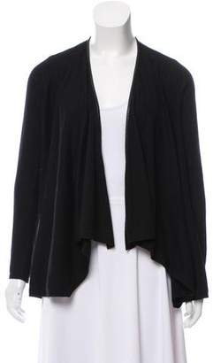 Alice + Olivia Open Front Leather-Accented Cardigan