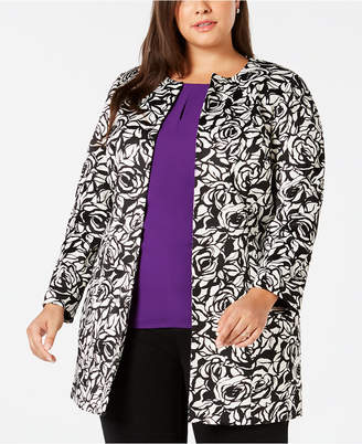 Kasper Plus Size Rose-Print Scuba Jacket