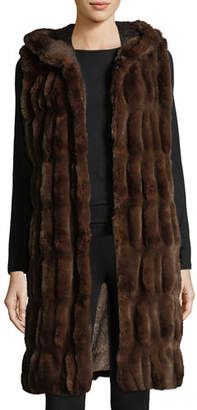 Couture Fabulous Furs Faux-Fur Hooded Long Vest