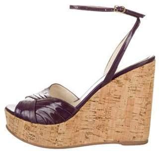 Fendi Patent Leather Ankle-Strap Wedges Purple Patent Leather Ankle-Strap Wedges