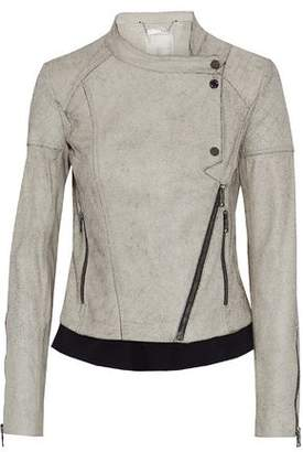 Ashley B. Cotton-Trimmed Cracked-Leather Biker Jacket