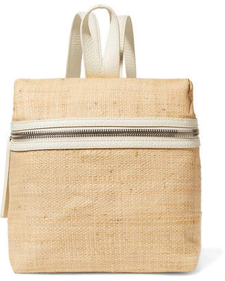 Kara Small Textured Leather-trimmed Straw Backpack