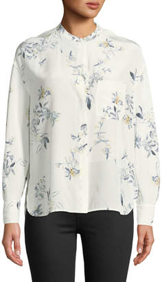 Vince Long-Sleeve Floral Pocket Blouse