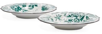 Gucci Herbarium Porcelain Soup Bowls Set - Womens - Green Multi