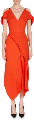 Roland Mouret Cotness Asymmetric-Drape V-Neck Dress