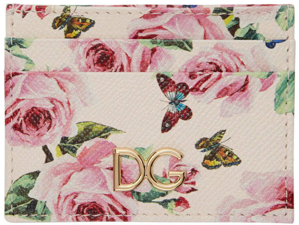 Dolce and Gabbana Pink Flowers Card Holder