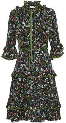 Mikael Aghal Pussy-Bow Ruffle-Trimmed Floral-Print Crepe De Chine Dress