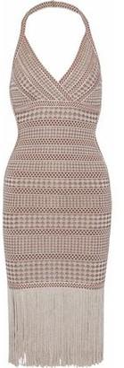 Herve Leger Wrap-effect Metallic Fringe-trimmed Stretch-knit Halterneck Dress