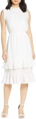 AVEC LES FILLES Tonal Stripe Ruffle Dress