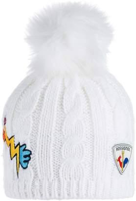 Rossignol Yurock Faux Fur Pom Cable Knit Ski Beanie