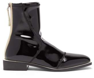 Fendi Fframe Patent Ankle Boots - Womens - Black