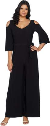 Women With Control Attitudes by Renee Petite Cold Shoulder Flutter Sleeve Knit Jumpsuit