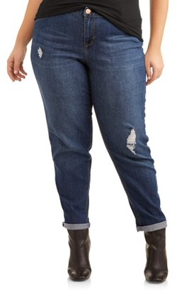 A3 Denim Women's Plus Size Roll Cuff Girlfriend Jean with Light Desctruction