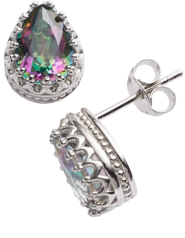 Kohl's Sterling Silver Rainbow Quartz Crown Stud Earrings