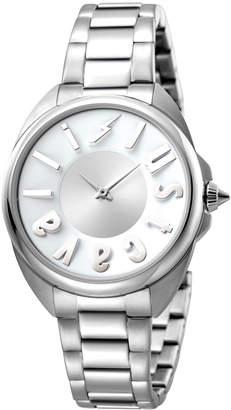Just Cavalli 34mm Logo Stainless Steel Bracelet Watch, Silver