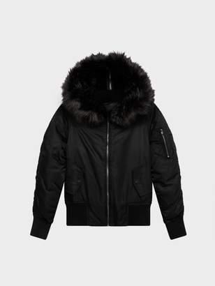DKNY Nylon Twill Down Bomber With Faux Fur Hood