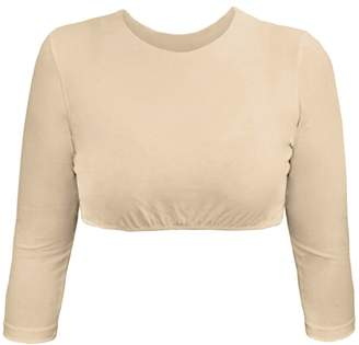 Kosher Casual Women's Modest High Neck Cropped Layering Shell - Viscose Lycra 3/4 Sleeve Base Pullover Top
