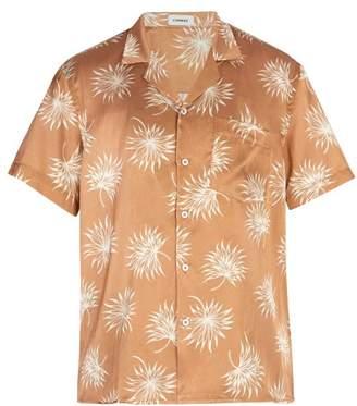 Commas - Palm Print Camp Collar Shirt - Mens - Light Brown