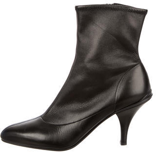 prada Prada Leather Pointed-Toe Ankle Boots