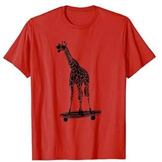 Giraffe on a Skateboard T-Shirt - With Sunglasses