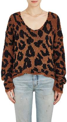 Amiri Women's Leopard-Pattern Wool-Blend Crop Sweater