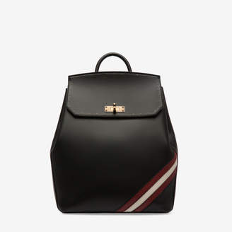Bally Bahira Black, Women's plain calf leather backpack in black