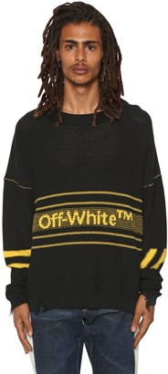 Off-White Off White Logo Cotton Blend Knit Sweater