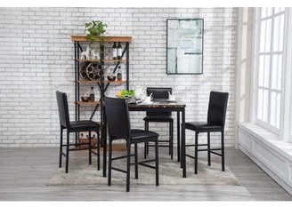 Boraam Arjen 5 pc counter height faux marble dining set, black