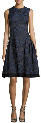 Carmen Marc ValvoCarmen Marc Valvo Sleeveless Floral-Jacquard A-Line Dress, Midnight