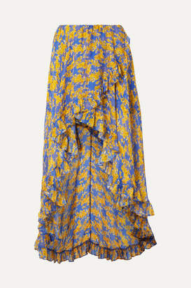 Caroline Constas Adelle Ruffled Floral-print Silk-chiffon Maxi Skirt - Blue