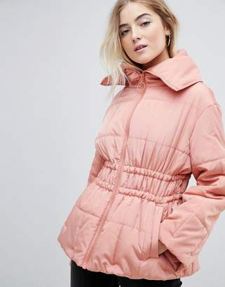 Asos DESIGN waisted quilted puffer jacket