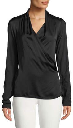 Velvet Bedelia Wrap-Front Long-Sleeve Top